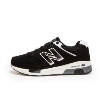 Men's Black White NB Summer Running Sneakers Breathable MeshPlatform Increase Sports Shoes -