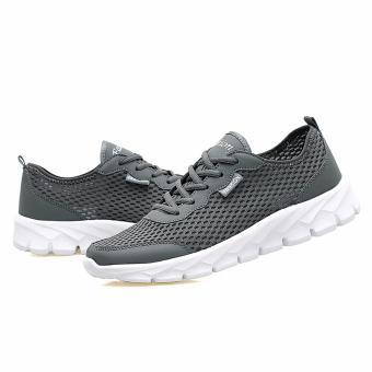 ... Men women Mesh Sport Shoes Running Snekers Color Grey EU 35-47 - intl  ... 6488479143
