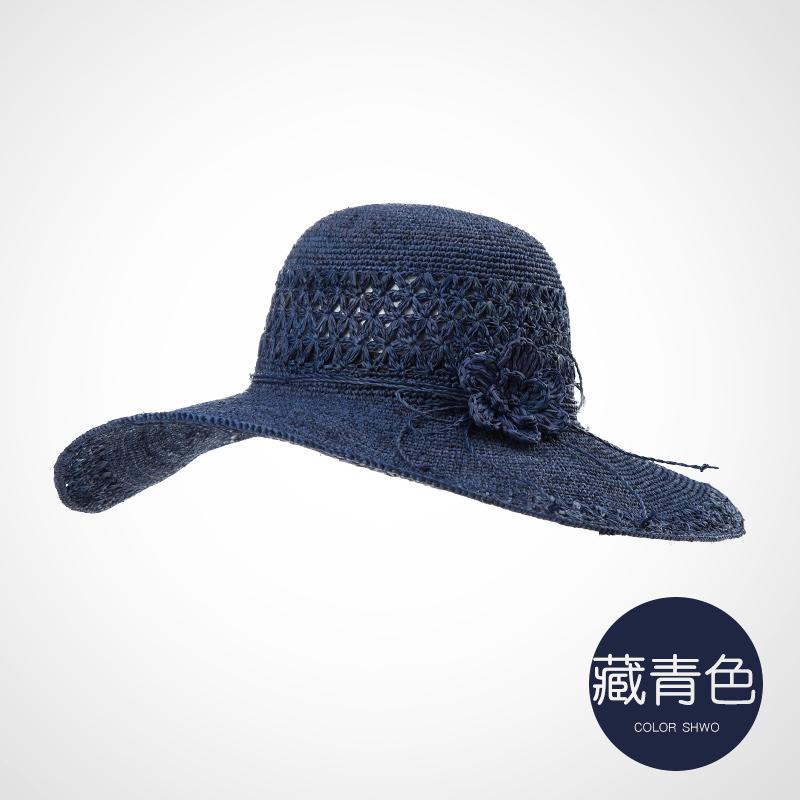 Mertens Korea Fashion Style musim panas perempuan topi jerami topi Biru tua .
