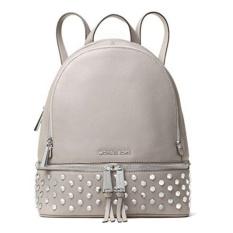 Michael Kors Tas Wanita Rhea Medium Studded Leather Backpack - Pearl Gray