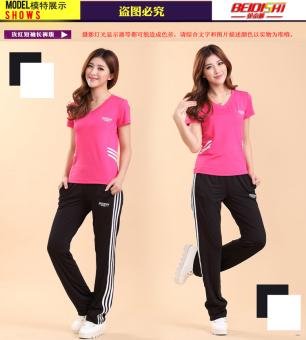 MM kebugaran Room perempuan lengan pendek celana panjang joging pakaian kebugaran pakaian (Rose Red (pinggang bar model))