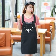 MM Korea Fashion Style Ukuran Plus Kode Kartun Dicetak Adalah Dress Tali Tipis (Hitam)