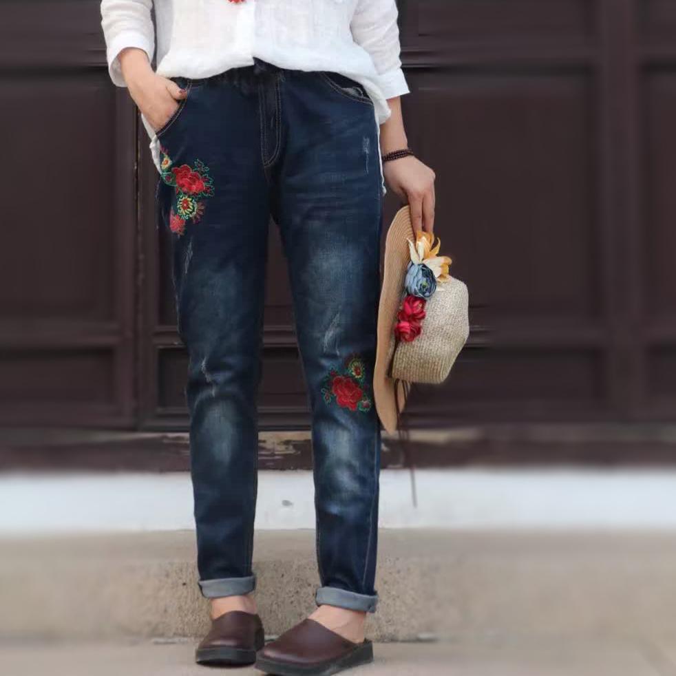 MM versi Korea dari bordir musim gugur baru celana stretch celana jeans (Celana jeans biru