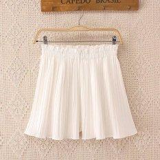 MM versi Korea dari warna solid perempuan untuk meningkatkan lebar kaki celana celana pendek (Putih