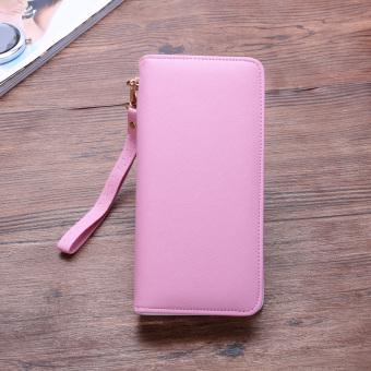 Mode Jepang dan Korea klip ritsleting clutch tas wanita dompet (8002 merah muda)