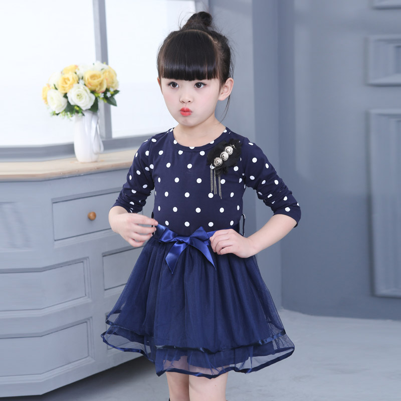 Model musim panas anak-anak lengan pendek gadis rok gaun (Lengan panjang biru tua