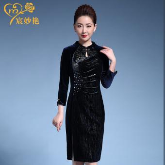 Harga baru Musim gugur baru ditingkatkan gaun cheongsam (Safir biru) Harga Terendah