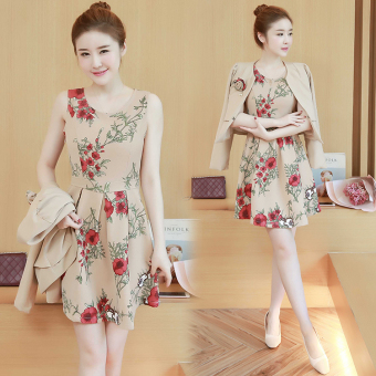 harga Musim gugur baru gaun lengan panjang adalah rok tipis baju wanita (Beige) Lazada.co.id