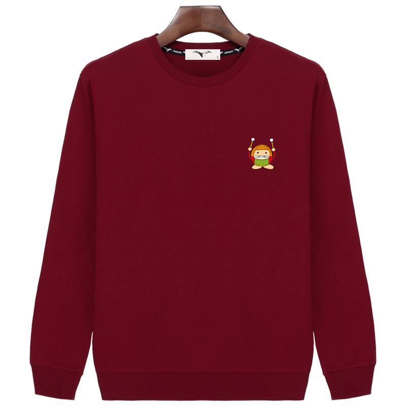 Musim gugur baru leher bulat pullover sweater (Merah anggur (drum monyet))