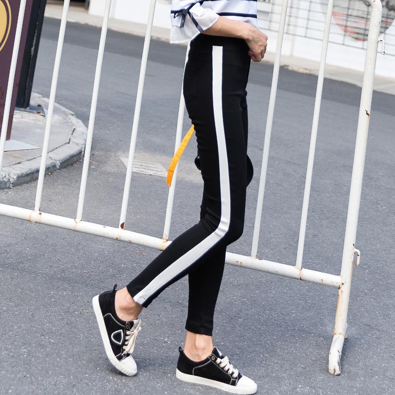 Musim gugur baru pinggang elastis celana harem elastis celana olahraga celana (Hitam)
