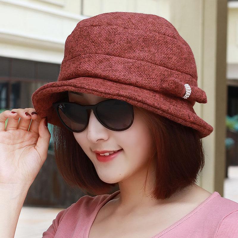 Musim Gugur Dan Musim Dingin Korea Fashion Style Batu Kristal Air Bunga Topi  Buket Topi Nelayan f81e734abf