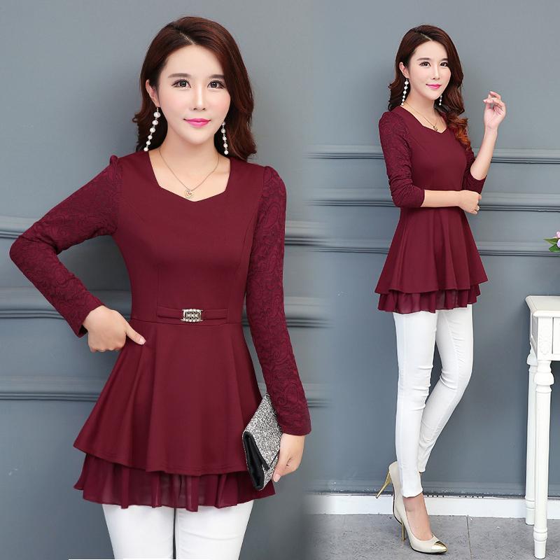 Flash Sale Musim gugur dan musim dingin wanita baru daun teratai ayunan lengan panjang kemeja sifon bottoming kemeja (Anggur merah)