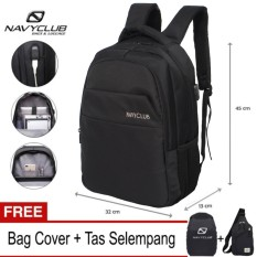 Navy Club Tas Ransel Laptop Backpack built in USB Charger Up to 15 inch Anti Air 5918 - Hitam (Free Bag Cover + Free Tas Selempang)