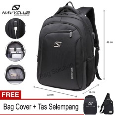 Navy Club Tas Ransel Laptop - Tas Pria Tas Wanita Tas Laptop - Backpack built in USB Charger Up to 15 inch Anti Air 62062 - Hitam (Free Bag Cover + Free Tas Selempang)
