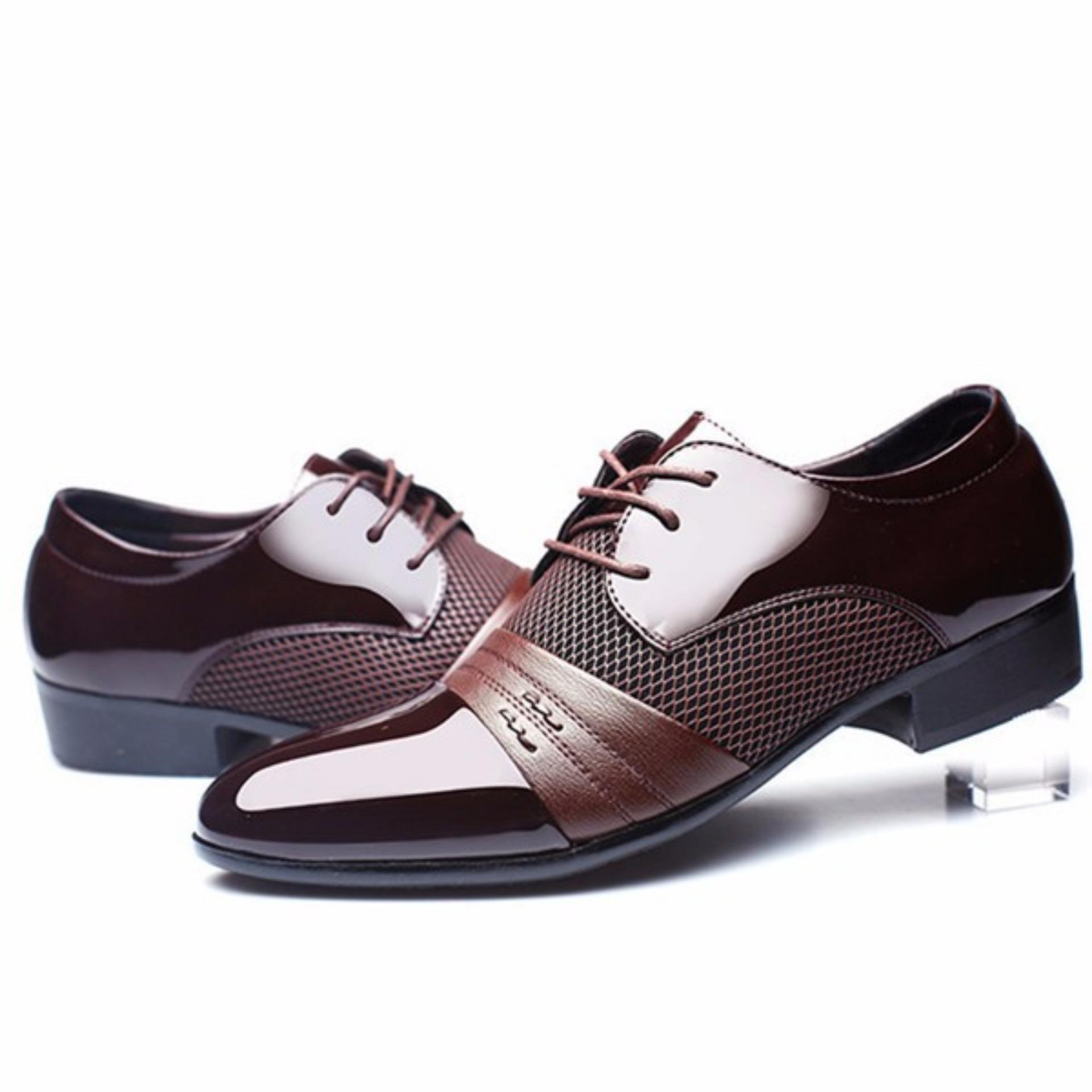 ... New gaun formal pria sepatu kulit asli Sepatu Casual Business berjabat gaun kasual Brown -Intl ...