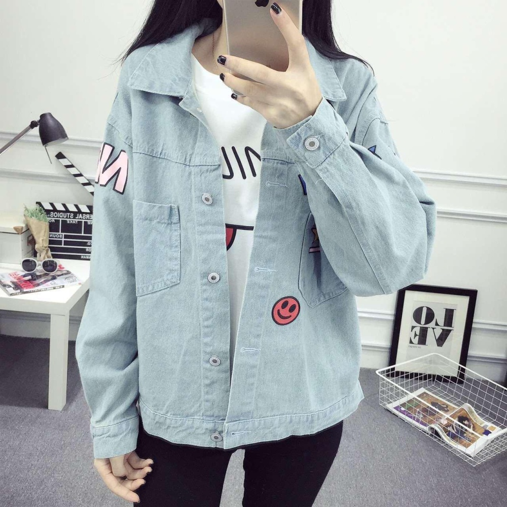 New Korean Fashion Print Pattern Casual Cowboy Jacket intl