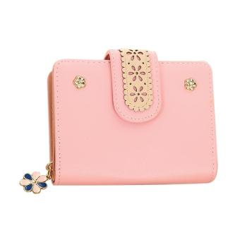 New Korean Women Short PU Leather Clutch Wallet Lace Floral Card Holder (Pink) -