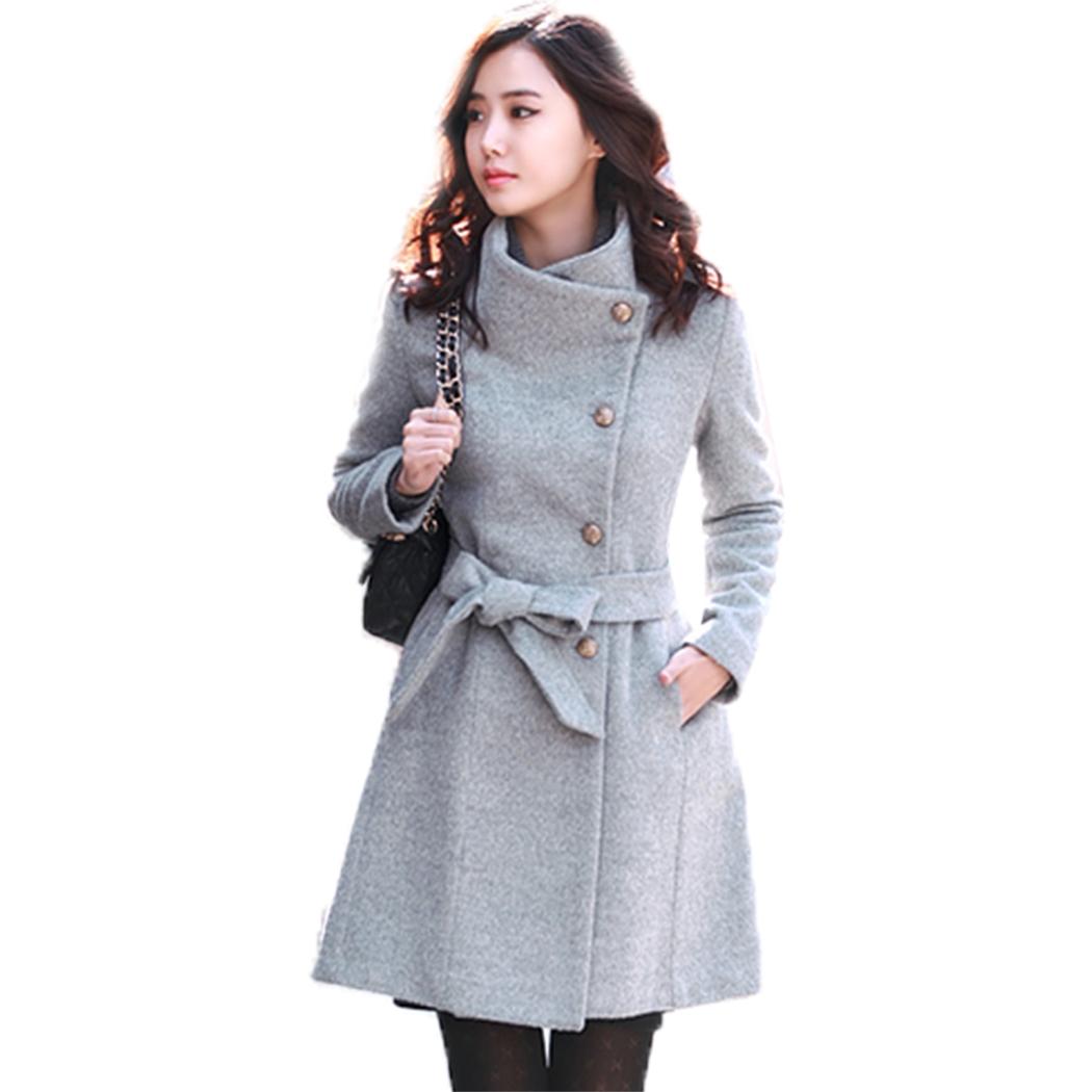 New Women Mantel Wol Panjang Lengan Baju Mantel Musim Dingin DariBahan Wol .