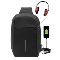 NiceEshop Fashion Pria Chest Sling Bag Travel Backpack dengan USB Charger Port dan Jack Headphone-Intl