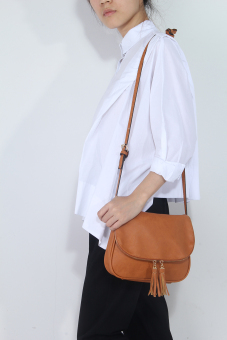 niceEshop perempuan PU kulit Crossbody Bag Rumbai Shoulder Bags Coklat .