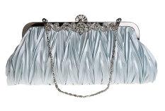 niceEshop Womens Vintage Satin Envelope Cocktail Evening Bag Party Handbag,Silver