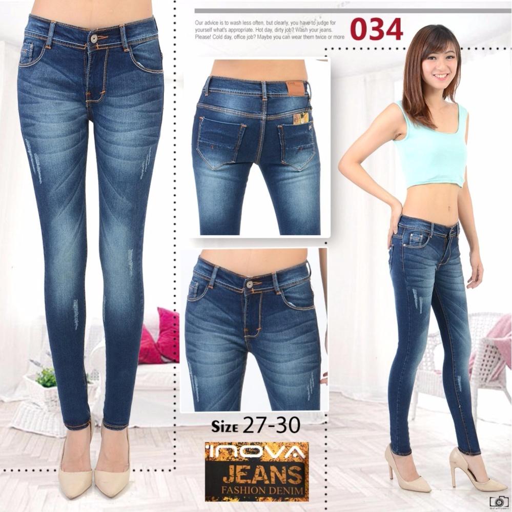 NJ - Inova Jeans Wanita Skinny Berbahan Denim - Biru 034