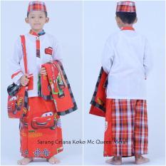 Nuranitex Busana Muslim Baju Koko Sarung Anak Mc Queen - Merah