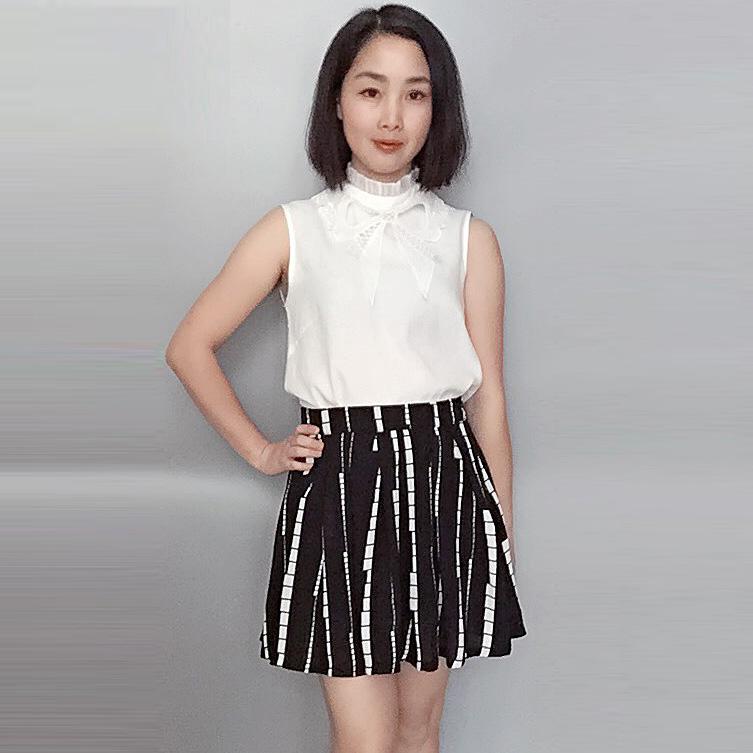 Nyaman putih asli high-end rok tanpa lengan kemeja (Cooljie motif rompi dan rok