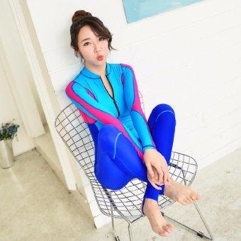 Harga Terendah Ocean NEW Lady conjoined Diving suit Long sleeve Prevent bask in abathing suit(Blue) - intl Harga baru