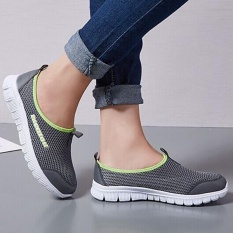 Ocean New Women Walking Shoes Sports Outdoors Casual BreathableRunning shoes Cloth shoes(Grey) -