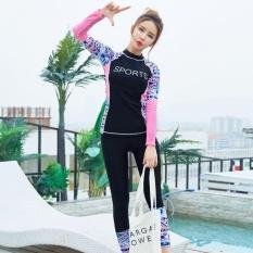 Ocean Wanita Surf memakai menyelam suit Two-Piece memandikan sesuai tahan air gerakan Yoga suit kemeja + celana (hitam)