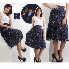 Oma Fashion Printed Leaf Skirt Plisket - Navy - Size M