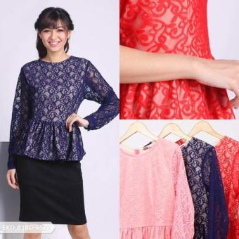 Omah Fesyen Dazkila Leaves Peplum Blouse - Red Int:L