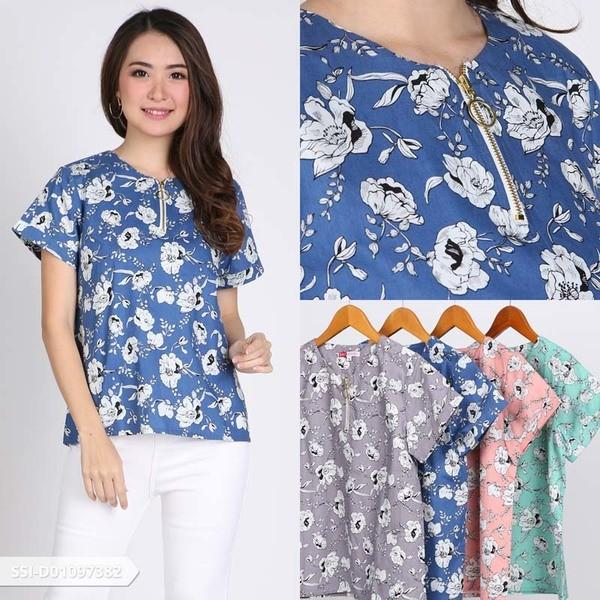Resleting depan Omah Fesyen Qeemera Flowery Casual Blouse Color: Grey