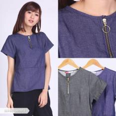 Omah Fesyen Qistiana Plain Zipper Blouse Color: Black