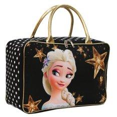Onlan Travel Bag Motif Karakter Bahan Kanvas Halus (02) - Hitam Gold