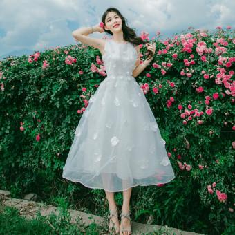 Organza baru bunga tiga dimensi rompi rok tanpa lengan gaun (Putih)
