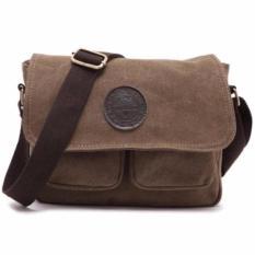 Orlando Men Canvas Messenger Crossbody Bag Coffee Brown - Coklat
