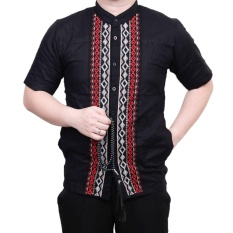 Ormano Baju Koko Muslim Batik Bordir Lengan Pendek Lebaran Hari Raya Pengajian ZO17 KK83 Kemeja Fashion Pria Corak Masa Kini Modern Size L - Hitam