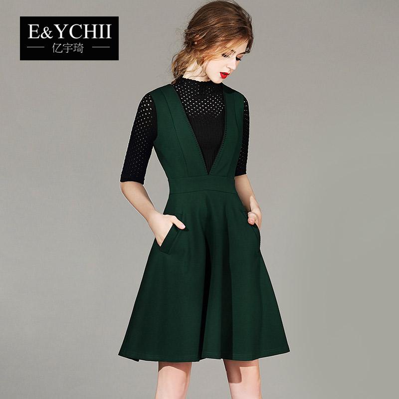 Flash Sale Ouzhouzhan musim gugur Vest rok bottoming gaun hijau (Hijau)