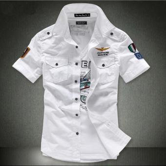 Pakaian Kerja Kemeja Pria Lengan Pendek Penerbangan Angkatan Udara Ukuran Besar (8608 putih)
