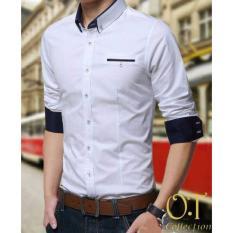 Pakaian Pria Kemeja Slim Fit Warna Putih Mr White VL