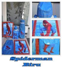 PAKET IBADAH ANAK SARUNG PECI SAJADAH TAS KARAKTER SPIDERMAN BIRU
