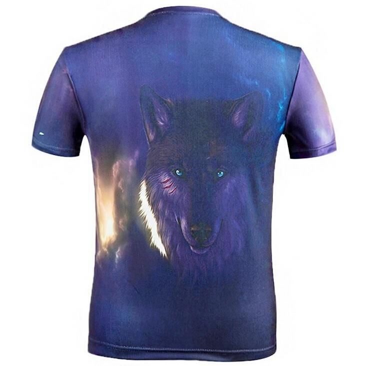 panas Musim serigala manusia 3D cetak digital Lengan Bang PendekGuy s T shirt the man
