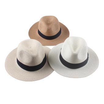 ... Panas Wanita Topi Jerami Bertepi Lebar Dan Terkulai Matahari PantaiLiburan Santai Lipat Topi Putih Krem