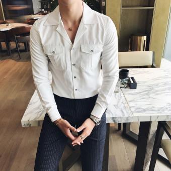 Jual Pasang Laki Laki Korea Fashion Style Laki Laki Lengan Panjang Kemeja Slim Baju Kemeja