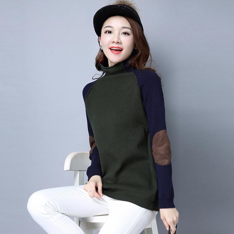 Cheap online Patch yang setengah tinggi kerah pullover tipis sweater LOOESN merajut kemeja (Setengah tinggi kerah hijau tentara)