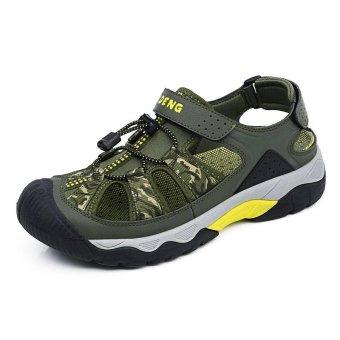 PATHFINDER Men Flat Leather Slipper Sandals Hiking Sandals-Green -intl