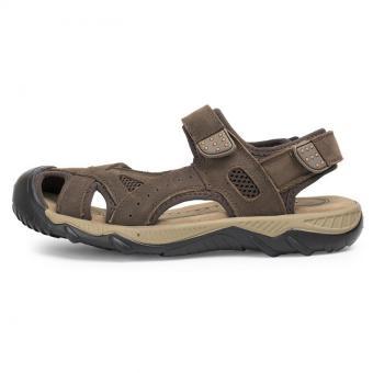 Detail Gambar Produk PATHFINDER Men Flat Leather Sporty Velcro Slipper Sandals HikingShoes (Coffee) Terbaru