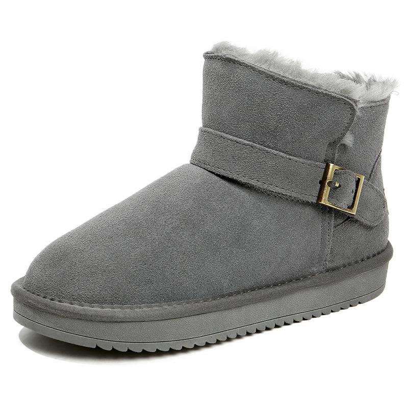 Flash Sale Pecinta ditambah beludru hangat sepatu kapas tabung pendek sepatu boot sepatu salju (Abu